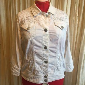 Chico's Platinum Embellished White Denim Jacket